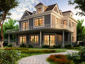 huge-gray-house-with-second-floor-balcony